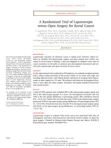 A Randomized Trial of Laparoscopic versus Open Surgery for Rectal Cancer