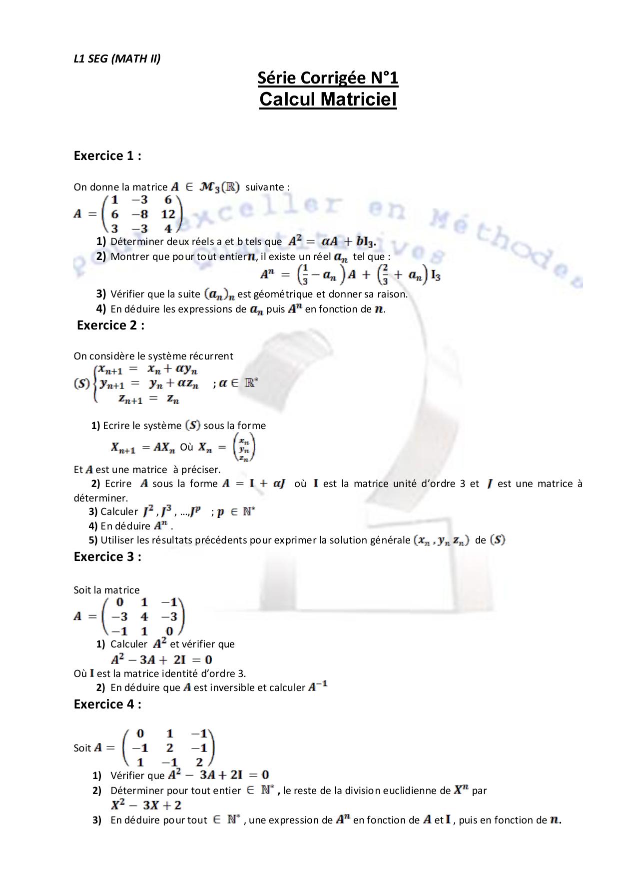 Serie Corrigee N 1 Calcul Matriciel Exercice 1