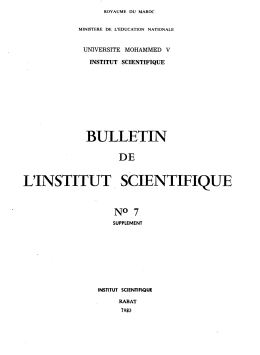 BULLETIN L'INSTITUT. SCIENTIFIQUE DE UNIVERSITE