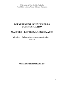 DEPARTEMENT SCIENCES DE LA COMMUNICATION  MASTER 1 - LETTRES, LANGUES, ARTS