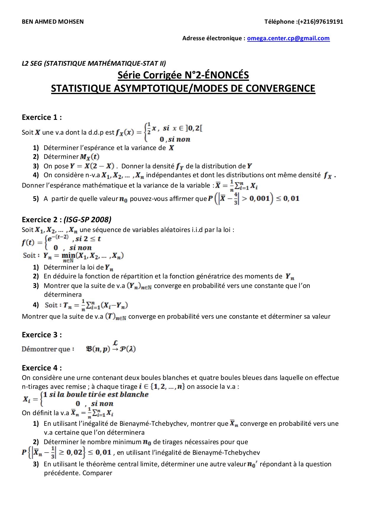 L2 Seg Statistique Mathematique Stat Ii Serie Corrigee N 2 Enonces Statistique Asymptotique Modes De Convergence