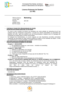 Licence Sciences de Gestion (L3 SG) Marketing
