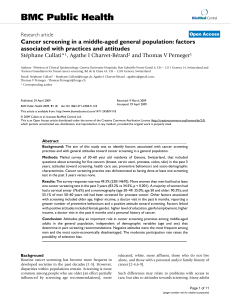 BMC Public Health Cancer screening in a middle-aged general population: factors