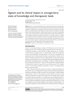 Ageism and its clinical impact in oncogeriatry: Clinical Interventions in Aging Dove