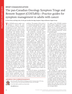The pan-Canadian Oncology Symptom Triage and Remote Support (COSTaRS)—Practice guides for