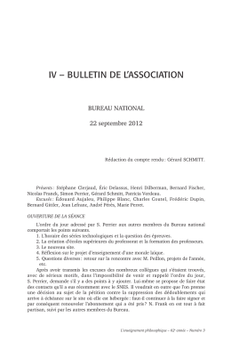 IV – BULLETIN DE L'ASSOCIATION BUREAU NATIONAL 22 septembre 2012