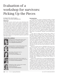 Evaluation of a workshop for survivors: Picking Up the Pieces Introduction