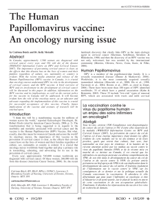 The Human Papillomavirus vaccine: An oncology nursing issue