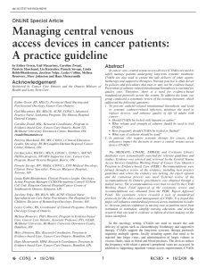 Managing central venous access devices in cancer patients: A practice guideline