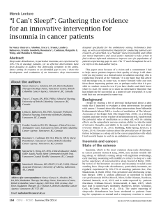 """I Can't Sleep!"": Gathering the evidence for an innovative intervention for"