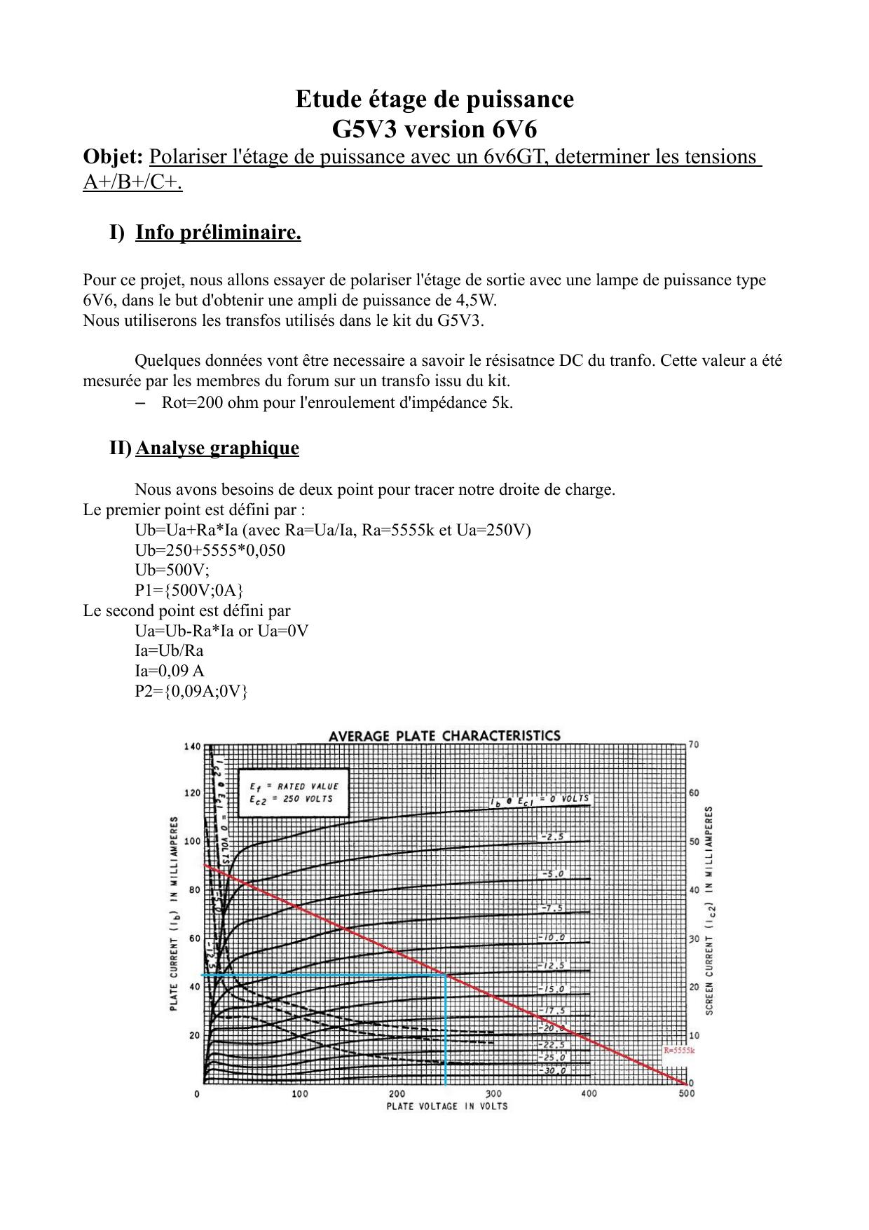 Etude étage de puissance G5V3 version 6V6 Objet: I) Info préliminaire