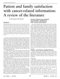 Factors influencing patients' and families' satisfaction with cancer information Abstract