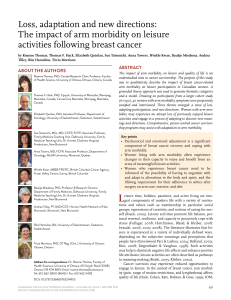 Loss, adaptation and new directions: activities following breast cancer