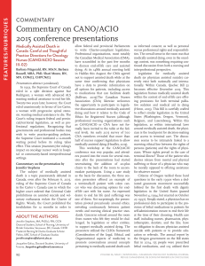 Commentary on CANO/ACIO 2015 conference presentations cOMMeNtArY S