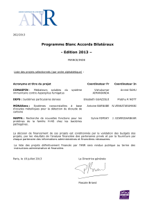 Programme Blanc Accords Bilatéraux - Edition 2013 –