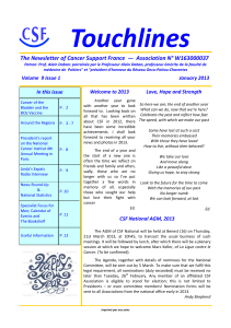 Touchlines The Newsletter of Cancer Support France  —  Association...
