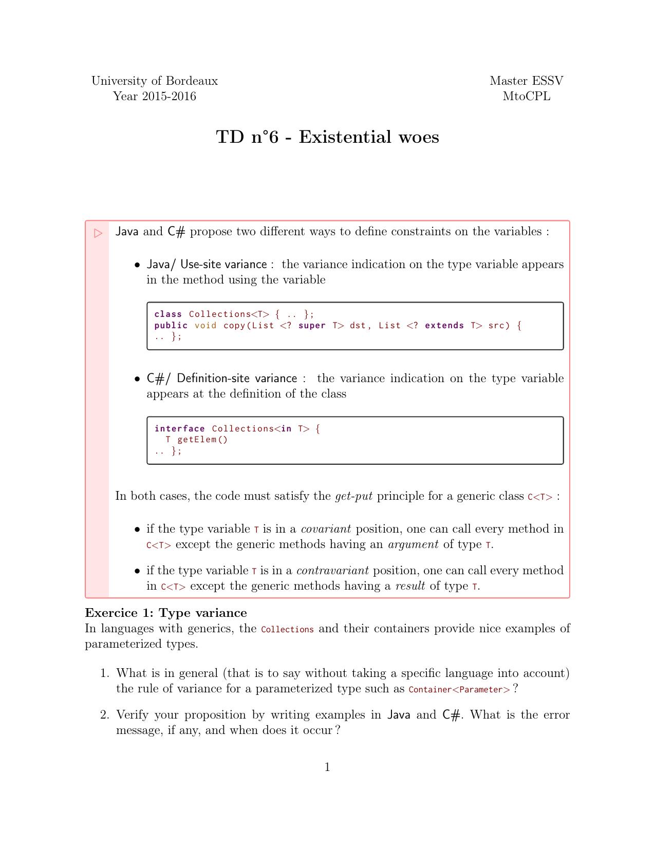 TD n°6 - Existential woes