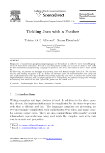 Tickling Java with a Feather Tristan O.R. Allwood Susan Eisenbach 1