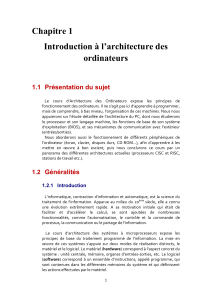 Chapitre 1 Introduction à l'architecture des ordinateurs
