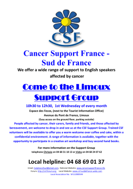 Cancer Support France - Sud de France Come to the Limoux Support Group
