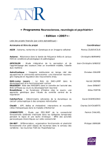 « Programme Neurosciences, neurologie et psychiatrie»  - Edition «2007»-