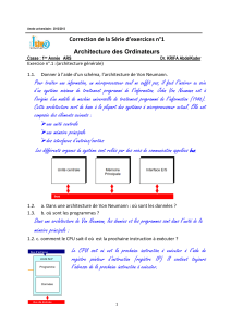 Correction de la Série d'exercices n°1 Architecture des Ordinateurs
