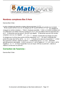exercices nombres complexes bac s asie maths terminale 1284