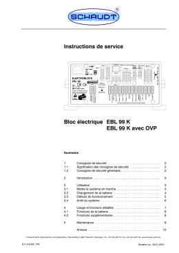 Instructions de service Bloc électrique EBL 99 K