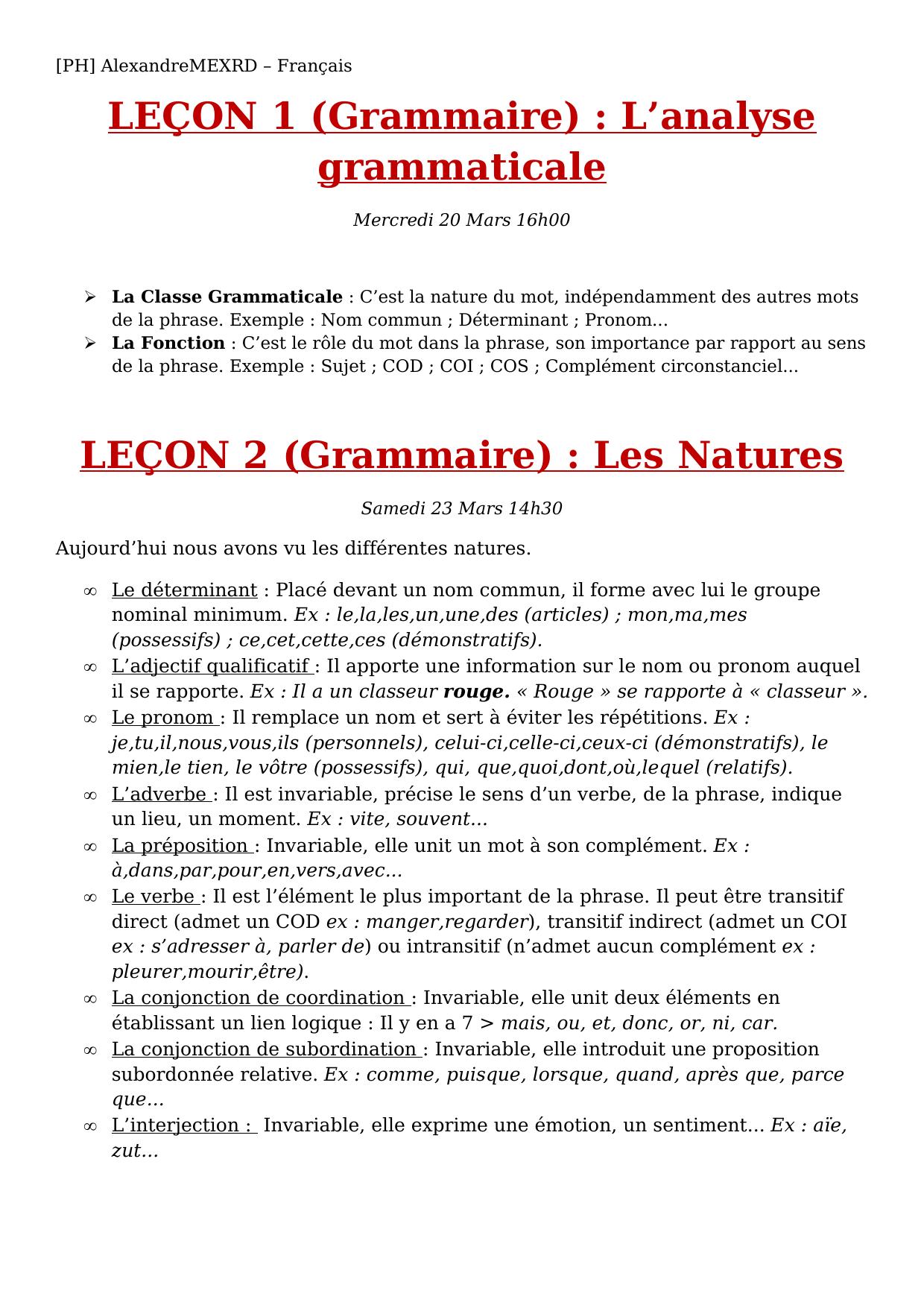 LEÇON 1 (Grammaire) : L'analyse grammaticale