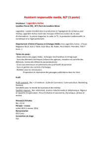 Assistant responsable media, H/F (1 poste) Lagardère Active