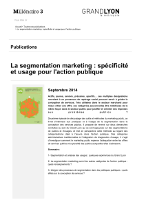 La segmentation marketing : spécificité et usage pour l'action publique Publications Septembre 2014