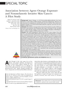 SPECIAL TOPIC Association between Agent Orange Exposure and Nonmelanotic Invasive Skin Cancer: