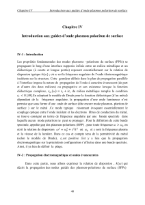 Chapitre IV  Introduction aux guides d'onde plasmon polariton de surface