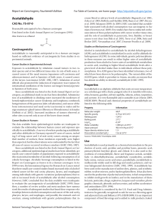 Acetaldehyde Report on Carcinogens, Fourteenth Edition CAS No. 75-07-0