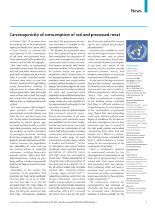 News Carcinogenicity of consumption of red and processed meat