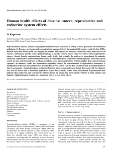 Human health effects of dioxins: cancer, reproductive and endocrine system effects M.Kogevinas