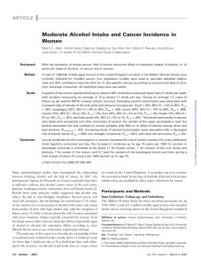 Moderate Alcohol Intake and Cancer Incidence in Women ARTICLE