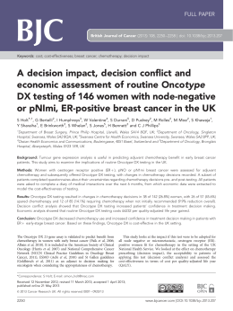 A decision impact, decision conflict and economic assessment of routine Oncotype