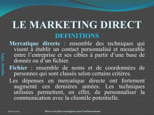 LE MARKETING DIRECT DEFINITIONS