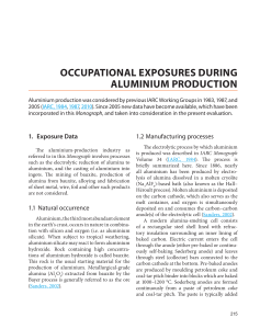OCCUPATIONAL EXPOSURES DURING ALUMINIUM PRODUCTION