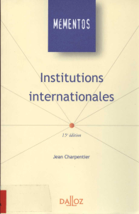 MÉMENTOS Institutions internationales DaIpz