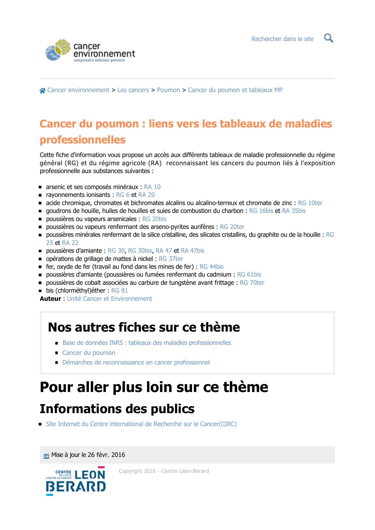 Cancer Du Poumon Liens Vers Les Tableaux De Maladies Professionnelles