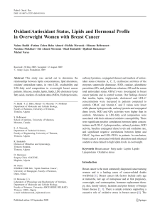Oxidant/Antioxidant Status, Lipids and Hormonal Profile