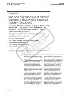 Iron and the anaemia of chronic disease: a review and strategic recommendations