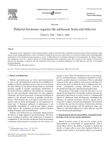 Pubertal hormones organize the adolescent brain and behavior Cheryl L. Sisk Review