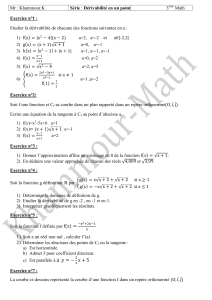 derivabilite en un point 3eme math