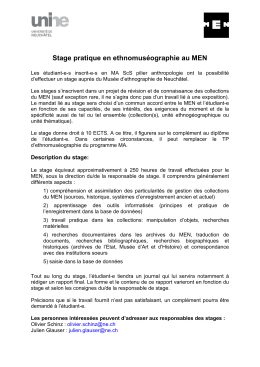 Stage pratique en ethnomuséographie au MEN