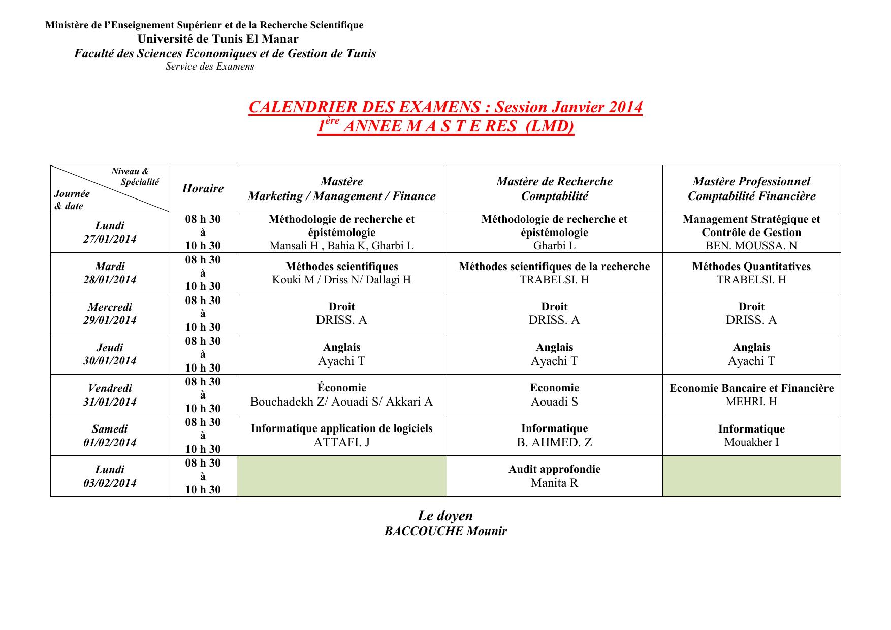 Calendrier Des Examens Sciences Po.Calendrier Des Examens Session Janvier 2014 1