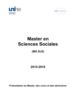 Master en Sciences Sociales 2015-2016