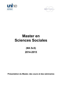 Master en Sciences Sociales  2014-2015